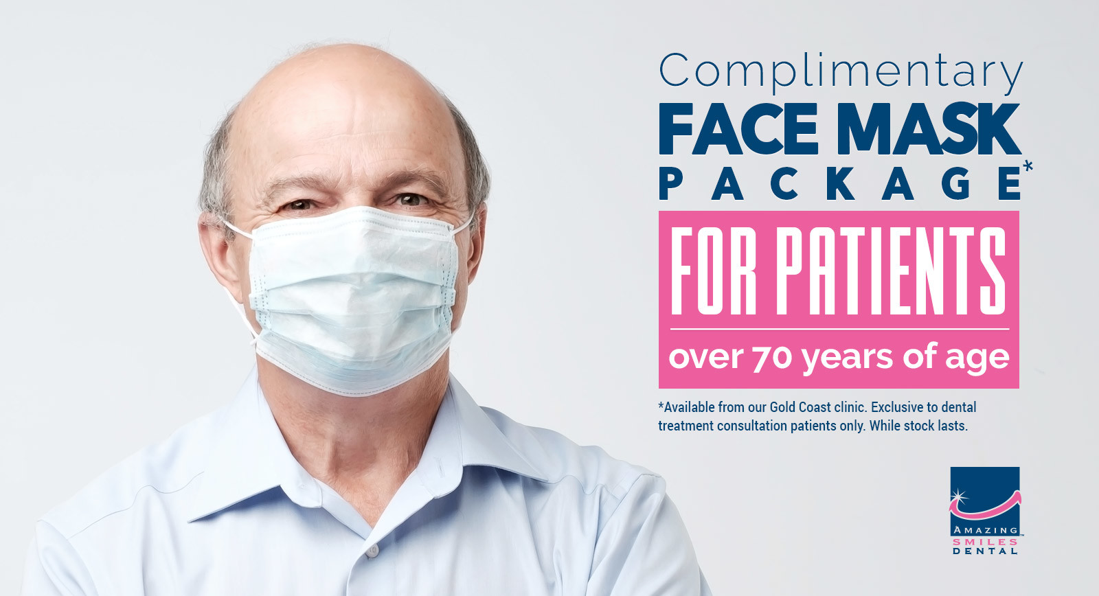 FREE Face Mask Packages to patients 70 and older